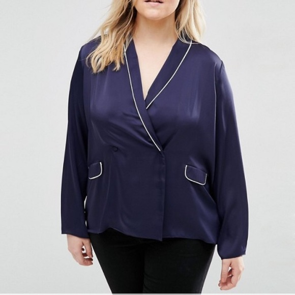 Asos Curve Tops Pajama Double Breasted Style Blouse Poshmark